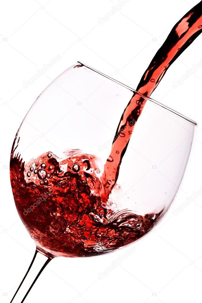 Red wine pour into glass close-up isolated over white background — Stock Photo #1420222
