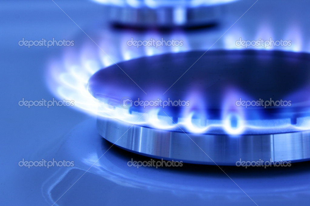 Blue gas flame on the hob close up  Stock Photo #1425157