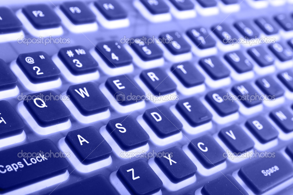 Keyboard close-up toned in blue color — Stock Photo #1425258