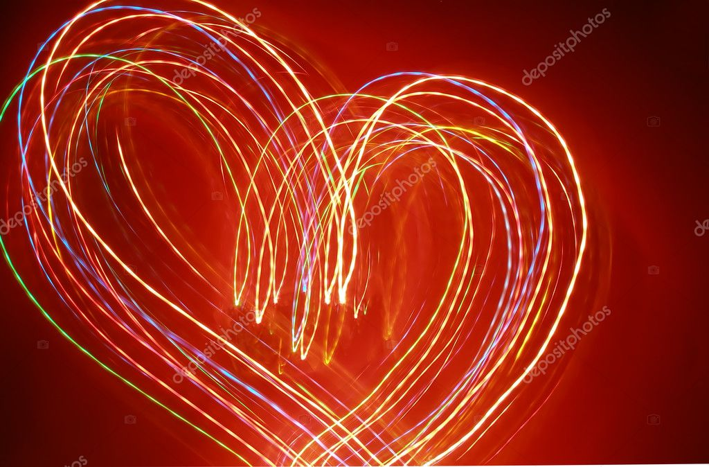Motion lights looking as Red heart  — Stock Photo #1425708