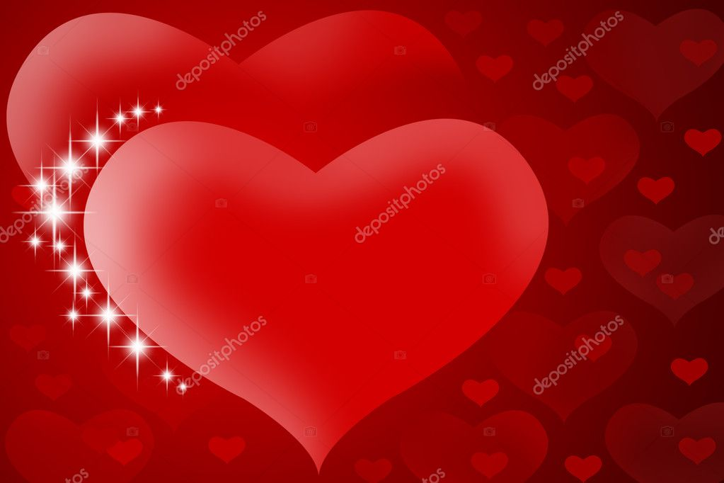 Valentine's background - Two red hearts with stars — Stock Photo #1425721
