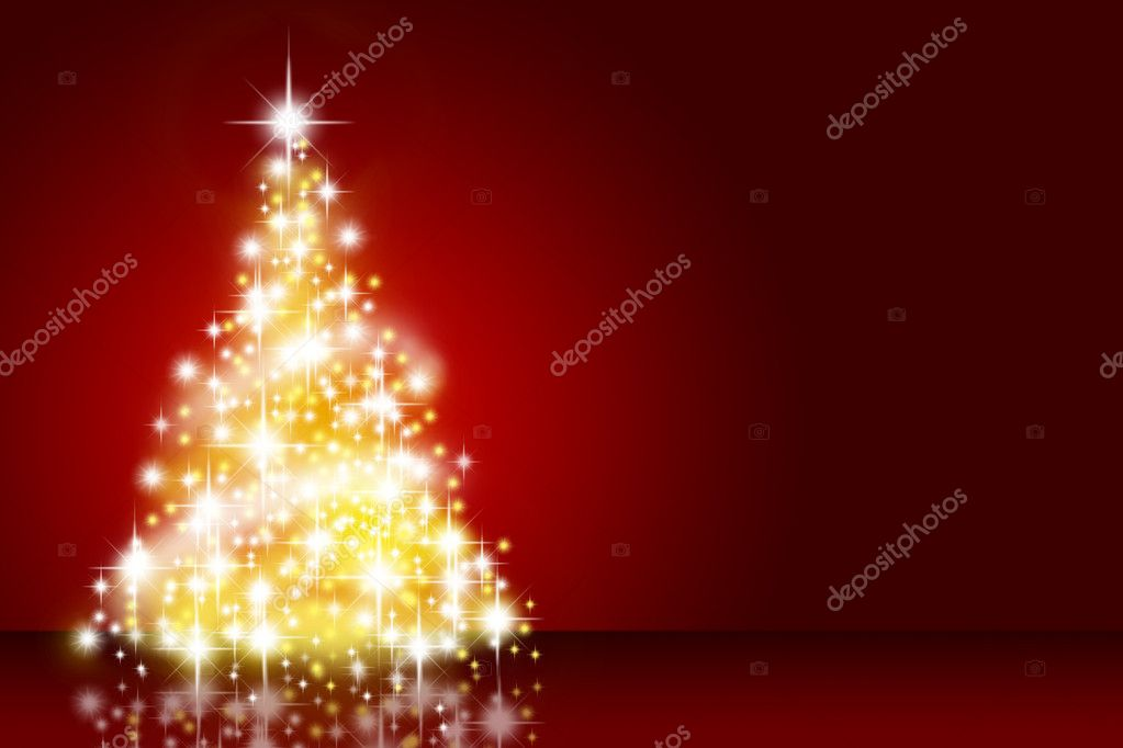 Christmas tree over deep red background — Stock Photo #1425747