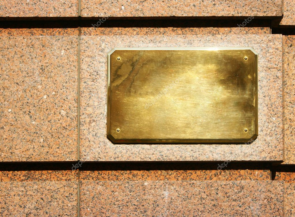 Blank copper signboard close-up over granite wall — Stock Photo #1426974
