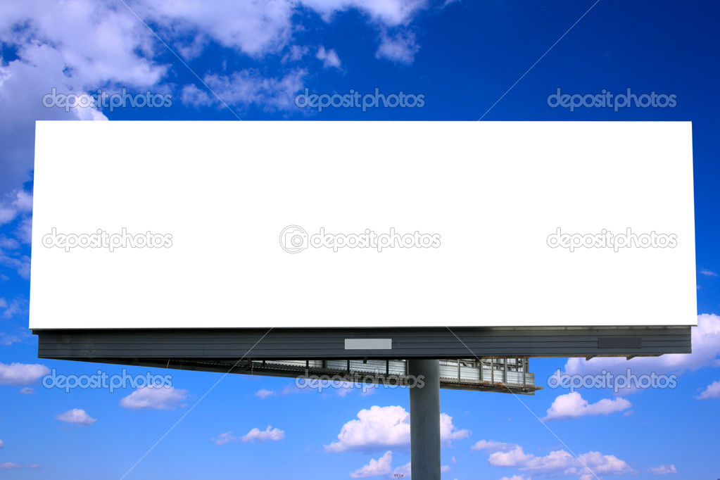 Blank billboard against blue sky, put your own text here — Zdjęcie stockowe #1427027