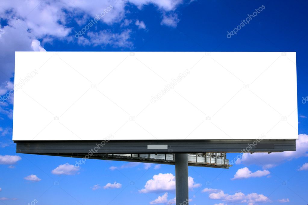 Blank billboard against blue sky, put your own text here — Foto Stock #1427027