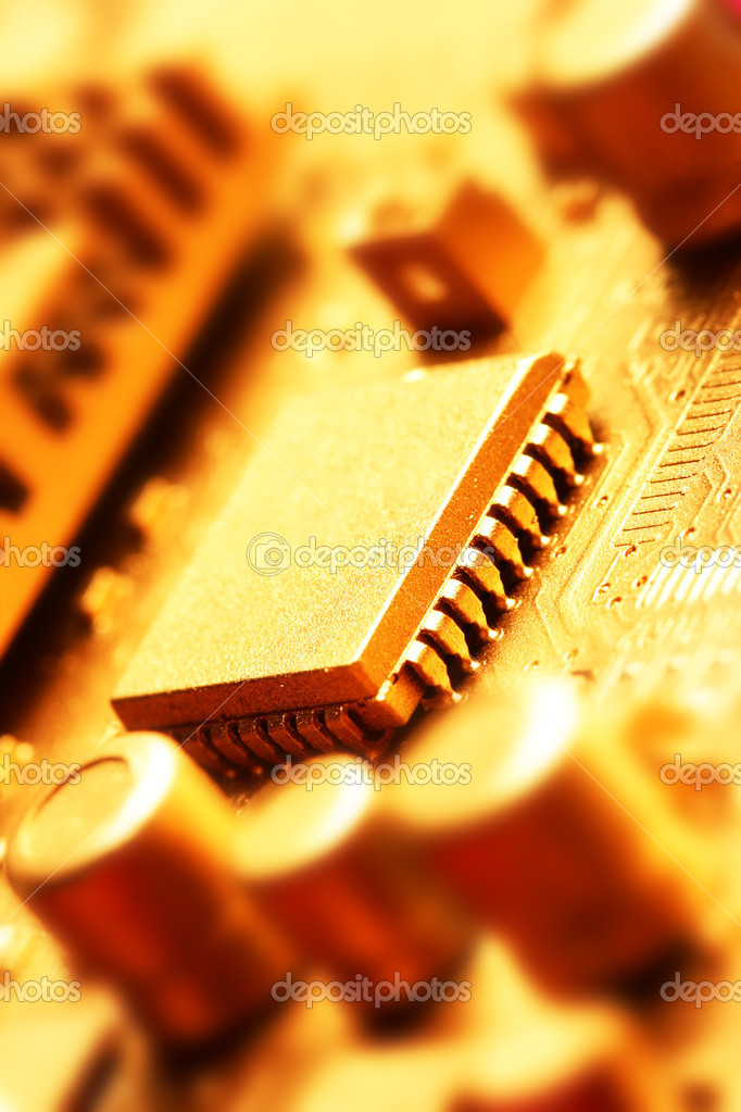 Gold circuit board close-up. Shallow DOF!  Stock Photo #1427066