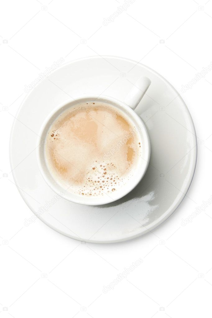 Cup of coffee with milk isolated over whte background — Stock Photo #1427378