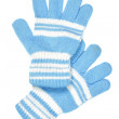 Blue woollen gloves — Stock Photo