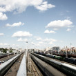 Trains at depot - Stock Photo