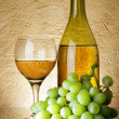 Stock Photo: Grapes and white wine