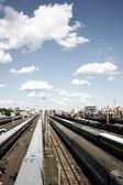 Trains at depot — Stock Photo