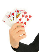 Royal flush in woman hand — Stock Photo