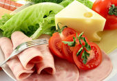 Ham, tomato, cheese — Stock Photo