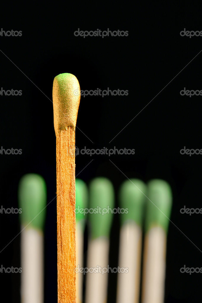 Gold match close-up. Metaphor of boss and assistants  — Stock Photo #1431318