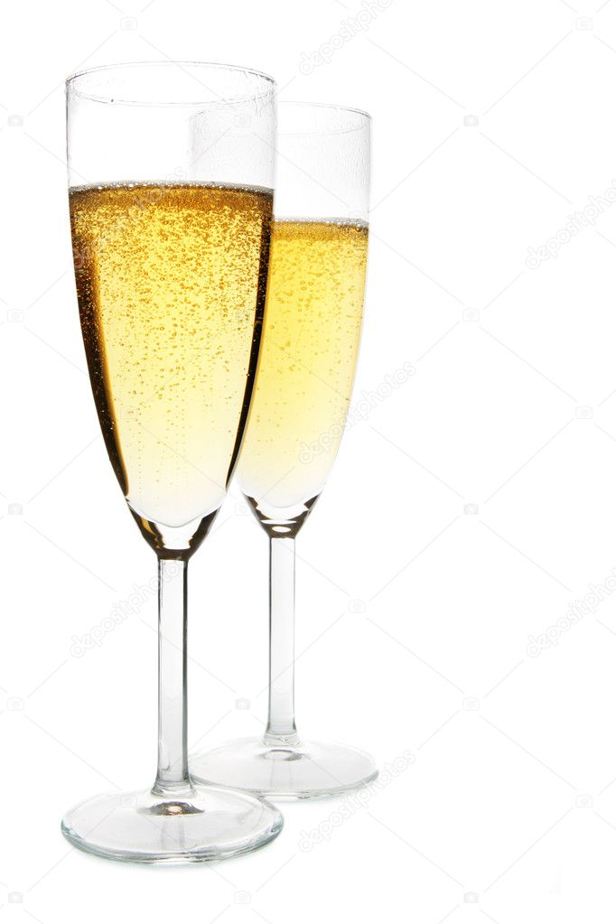 Two glasses of champagne isolated over white background — Stock Photo #1432951