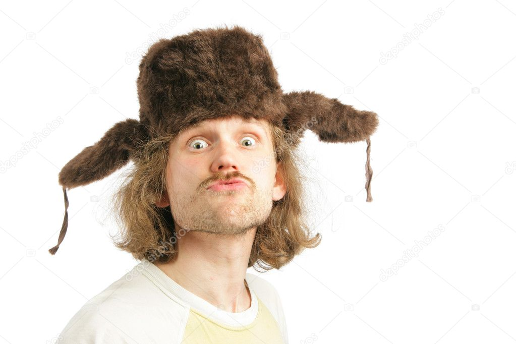 Crazy russian man with ear-flaps cap isolated over white background — Stock Photo #1432983