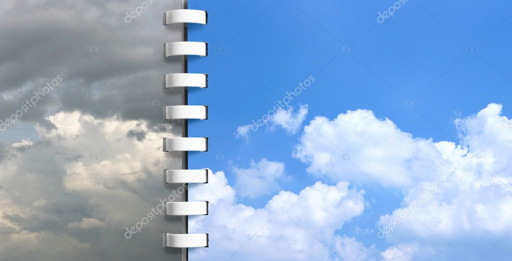Notebook with skies pages - Today and tomorrow — Stock Photo #1433026