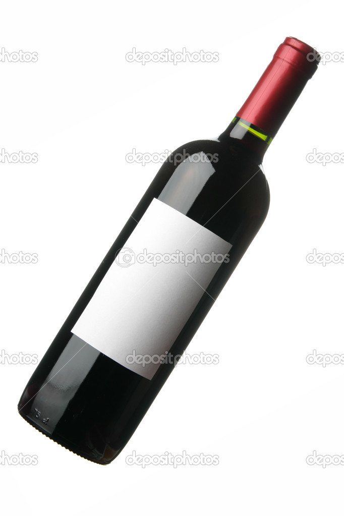Bottle of red wine with blank label isolated over white background  Stock Photo #1434720