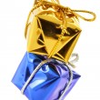 Golden and blue gift boxes — Stock Photo