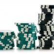 Three stacks of casino chips in a row — Stock Photo