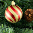 Stripy christmas ball — Stockfoto