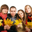 Friends with maple leaves - Lizenzfreies Foto