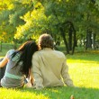 Young happy couple outdoors — Stock Photo #1441632
