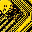 Royalty-Free Stock Photo: Yellow circuit board macro