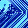 Blue circuit board macro - Stock Photo