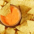 Nachos and sauce - Stock Photo