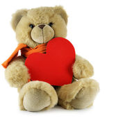 Teddy bear with big red heart — Stock Photo