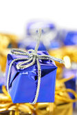 Blue gift box close-up — Stock Photo