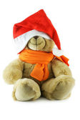 Teddy bear with big Santa hat — Stock Photo