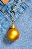 Christmas ball instead of price tag — Stock Photo