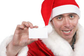 Santa show blank visiting card — Stock Photo