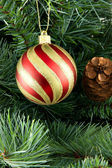 Stripy christmas ball — Stock Photo