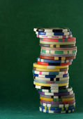 Stack of colorful casino chips — Stock Photo