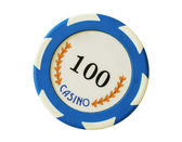 Blue 100 dollars casino chip — Stock Photo