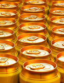 Yellow beer cans — Stock Photo
