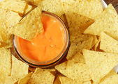 Nachos and sauce — Stock Photo