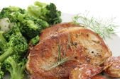 Roasted pork and broccoli — Stock Photo