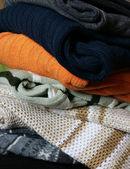 Heap of winter woolen wear — Stock Photo