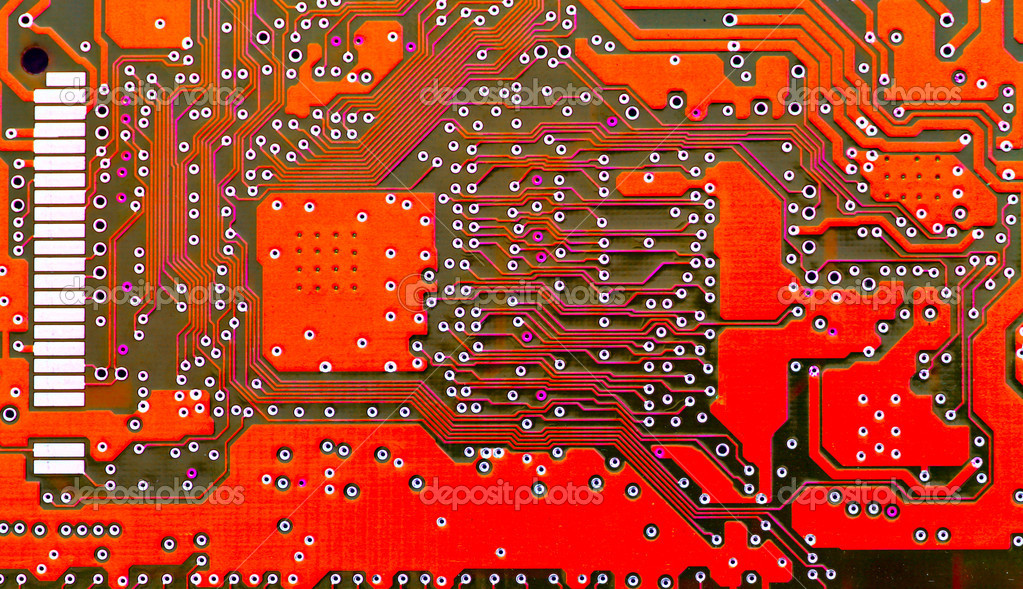 Red circuit board super close-up, may be used as background — Stock Photo #1446157