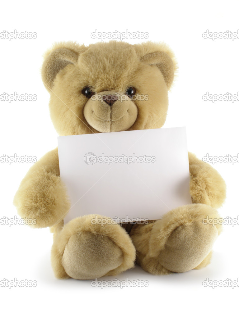Teddy bear with blank sheet isolated over white background        — Stock Photo #1446686