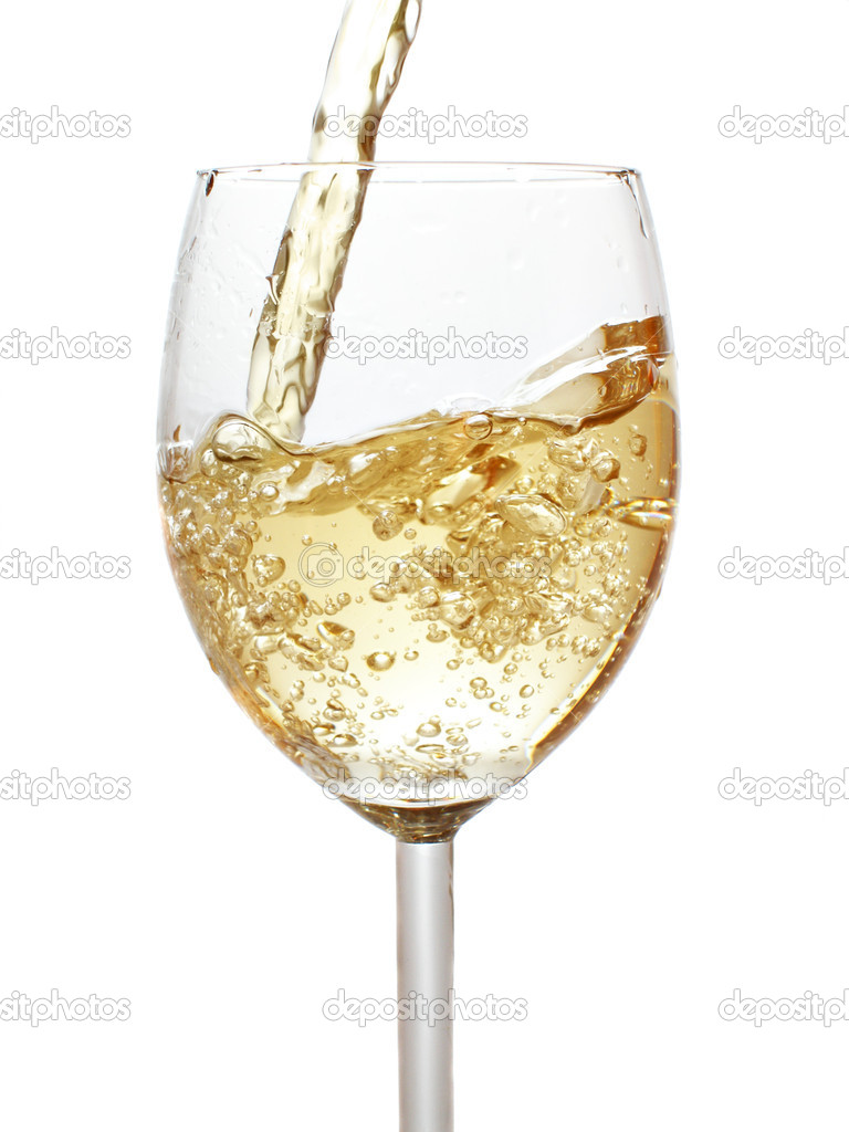 Pouring white wine isolated over whte background       — Stock Photo #1446693