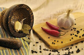 Spices and a mortar on kitchen — Stock Photo