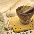 Stock Photo: Spices and mortar on kitchen