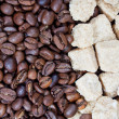 Stock Photo: Cane sugar and coffee beans