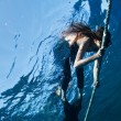 Free diving girl — Stock Photo
