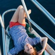 Sailor girl on a yacht — Stock Photo